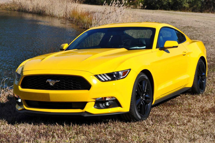 Yellow Ford Mustang V8 Hire Mustang Rental Uk